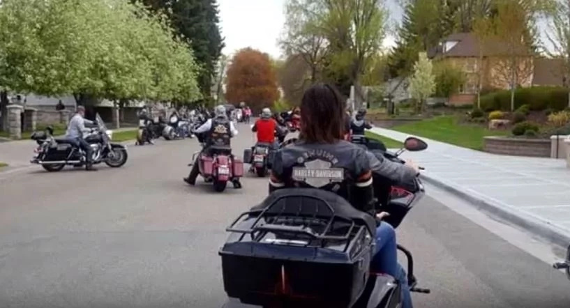 Bikers came together in support for Teegan's funeral
