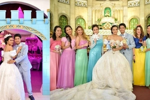 Pinoy couple pulls off their dream fairytale wedding with bridesmaids dressed up as Disney princesses