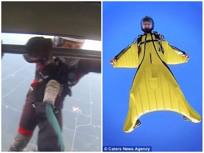 Skydiving stunt nearly goes south after man kicks his unsuspecting friend out of plane in chilling footage