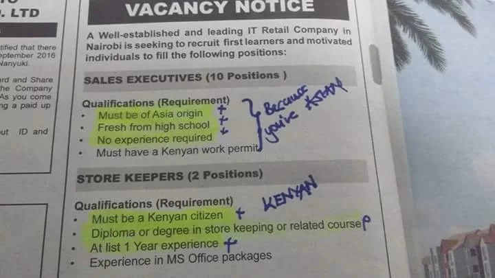 Kenyan's barred from applying jobs in an Asian company