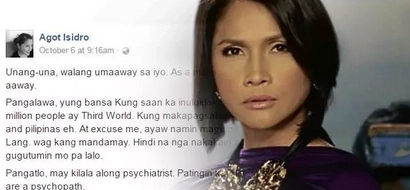 Furious Agot Isidro fires up and calls Duterte a 'psychopath'