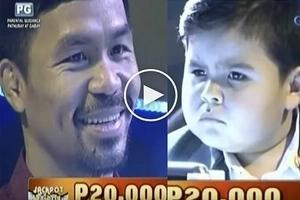 Sobrang nakakatawa :D Watch Senator Manny Paquiao vs baby Baste on Jackpot en Poy