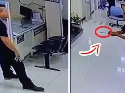 A man was threatening everyone with a knife in a police station. When this brawny policeman intervened, the whole incident becomes a remarkable event!