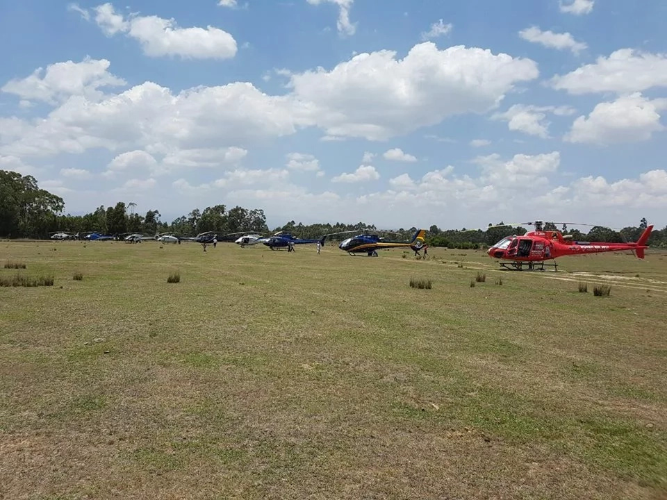 You will be surprised when see the number of choppers that were at Gachagua's burial (photos)