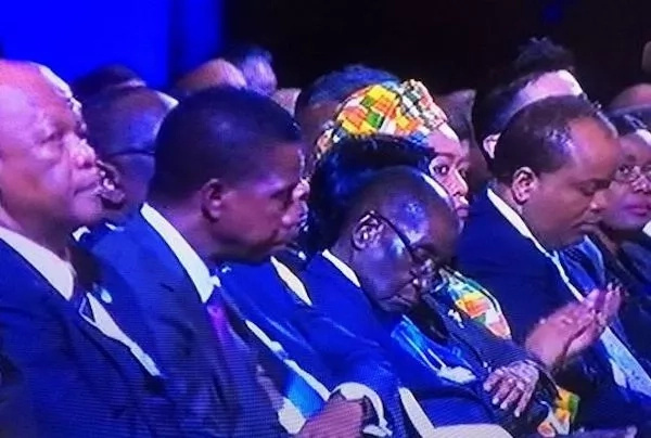 Images showed President Mugabe catching a nap at the WEF-Africa