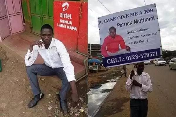 Mkenya mwingine asimama na bango barabarani kuomba kazi!