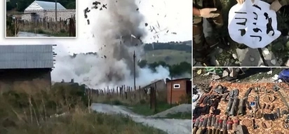 Dramatic moment 'terror cell' blow themselves rather than surrender to police