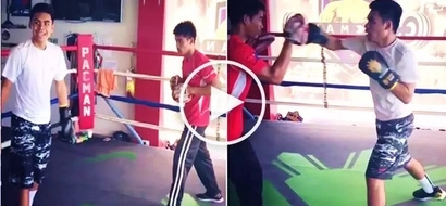 Sumusunod sa yapak? Manny Pacquiao's son Michael wows netizens by showing off his epic boxing skills