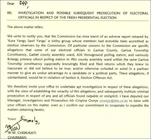IEBC asks DPP Tobiko to probe and arrest Garissa electoral officials accused of irregularities