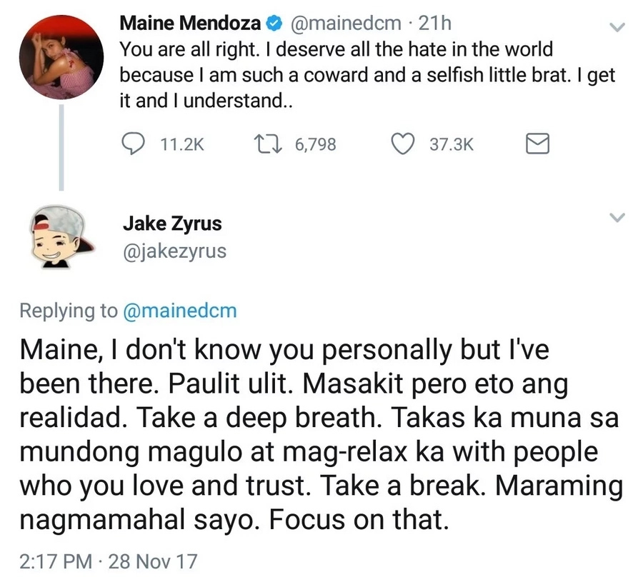Jake Zyrus's reaction to Maine Mendoza's controversial open letter goes viral