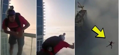 Daredevil jumping through the fog of 200m skyscraper will scare you to death