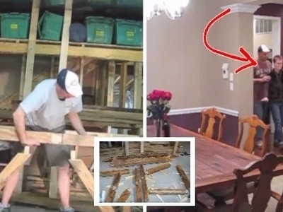 A husband was building something on his garage using only hand tools. Then on his 20th wedding anniversary, he called his wife to go to the kitchen...
