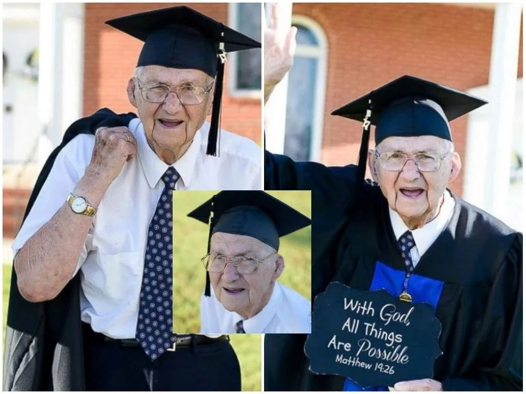 This grandpa who quit school to educate his daughters, graduates from college aged 88 (photos)