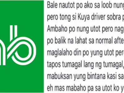 Rider gives 5-star rating to Grab driver for tolerating his smelly fart!