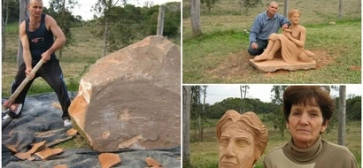 Amazing! Man carves BEAUTIFUL sculpture in touching tribute to his mother (photos)