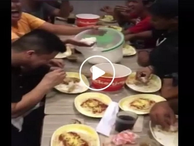 This group of Pinoys brought a big container filled with rice in Jollibee....what they did will surprise you!