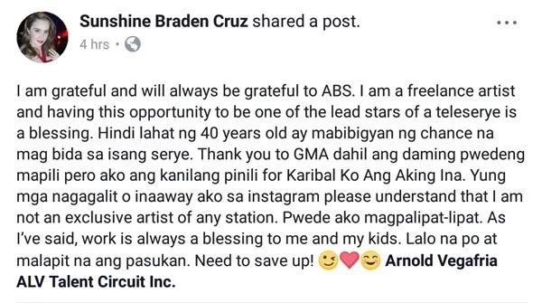 Sunshine Cruz lectures her bashers on what freelancing is after they questioned her loyalty to ABS-CBN