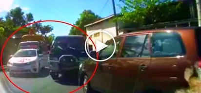 Furious Pinoy policeman apprehends van driver for counterflowing at La Union road