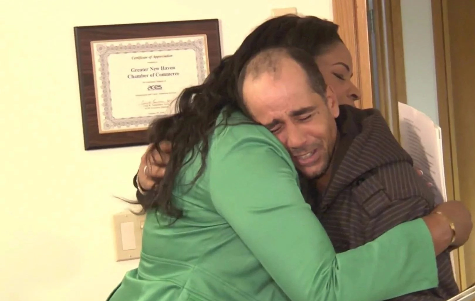 Elmer was tearful when Roberta told him of his new home. Photo: NBC