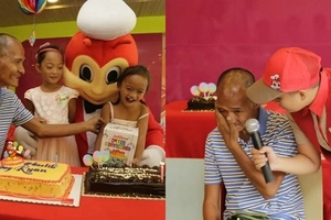 Selfless father who watched her daughters eat in a fast food chain now gets a triple surprise from Jollibee