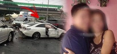 Di napigil ni misis! Angry wife rams brand new Toyota Fortuner into husband's precious Mercedes when she catches him with other woman!