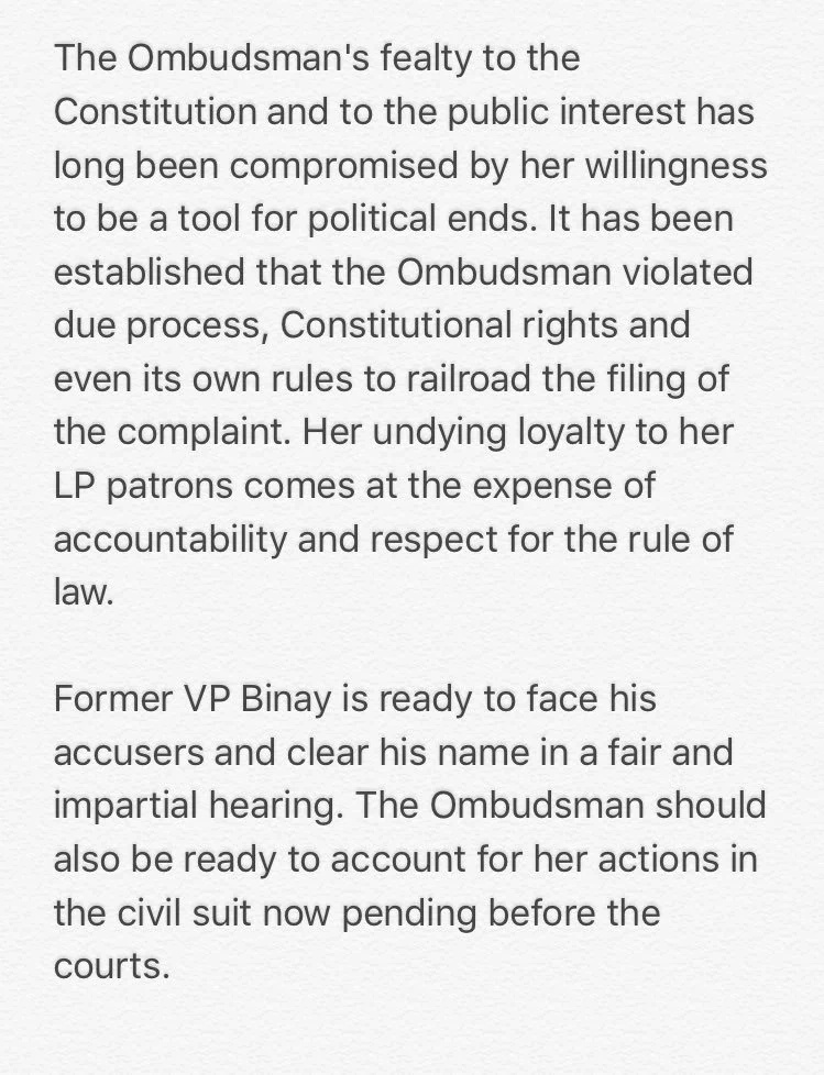 Ombudsman goes after ex-VP Binay, files criminal charges