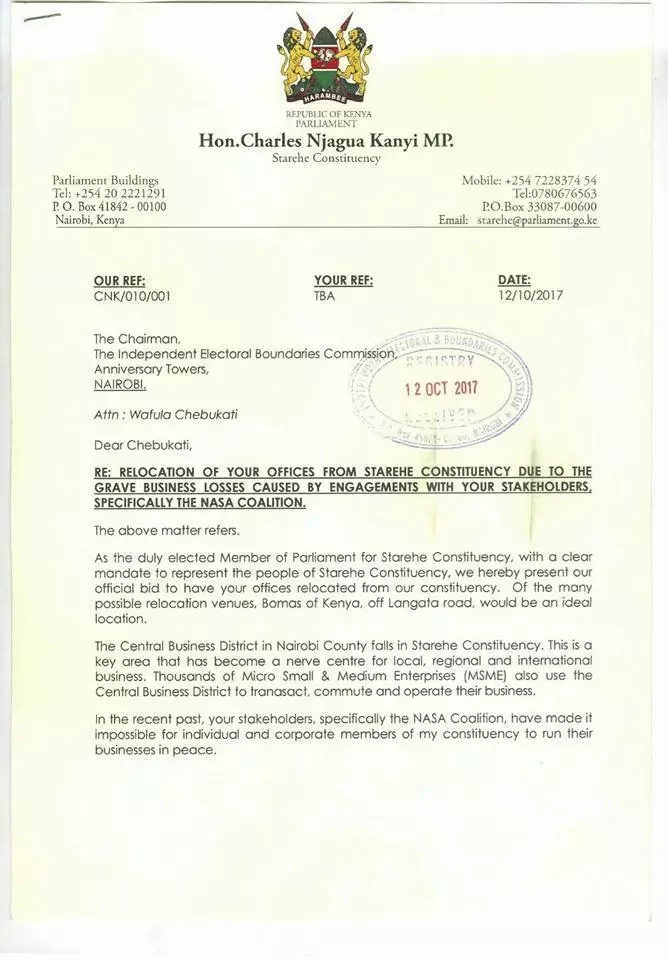 Starehe MP Jaguar writes to IEBC demanding they relocate from Anniversary Towers in CBD