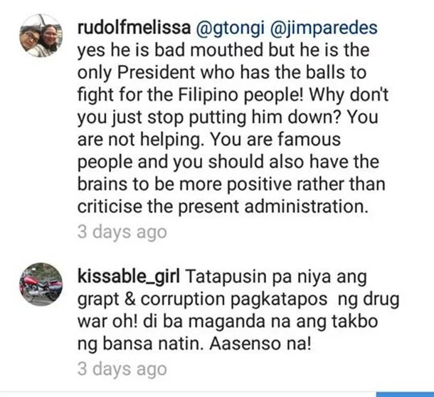 G Toengi reacts adversely to Duterte's tirades against Obama