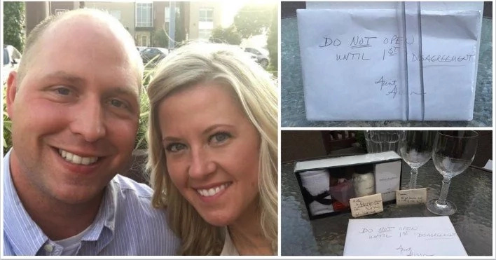 """Su tía dió un misterioso regalo de boda etiquetado """"no abrir hasta que la primera pelea"""", 9 años después, la pareja encuentró ESTO adentro"""