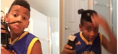 """Haircut tutorial gone wrong: """"I'm going to be the funniest kid on the planet."""""""