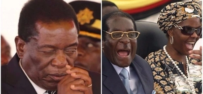 Zimbabwe's Vice President caught on camera praying with one eye open on the Mugabes