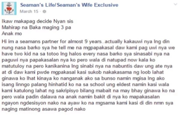 A Seaman's Sweet Lies Of Love? A Woman Expresses Her Disappointing Experience With The Father Of Her Children.