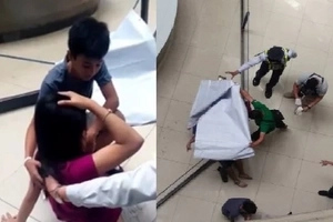 Chilling situation when a mallgoer jumps off the 4th floor and fell on a woman caught on cam
