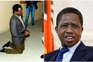 Outrage after minister kneels while speaking to the president (photo)