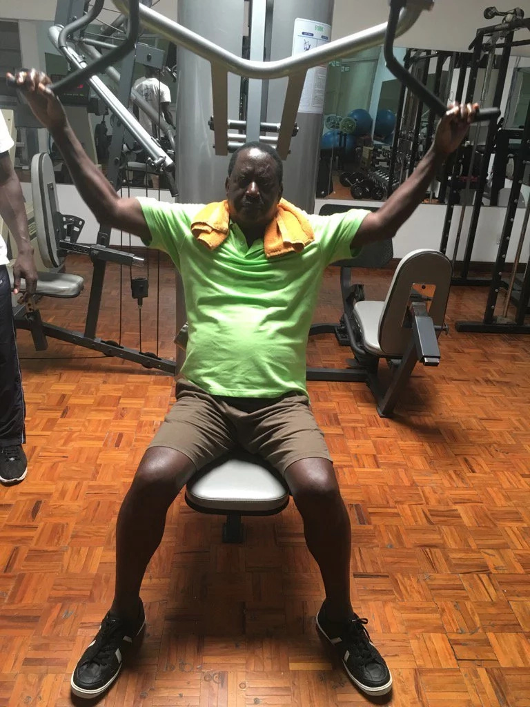 Raila hits the gym after coast tour (photo)