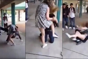 Teen girl beats the hell out of a guy for bullying her online