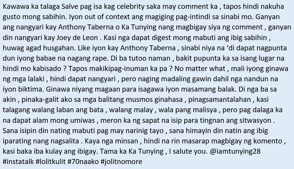May punto raw si Ka Tunying! Lolit Solis defends Anthony Taberna for his controversial comments about a female victim on UKG