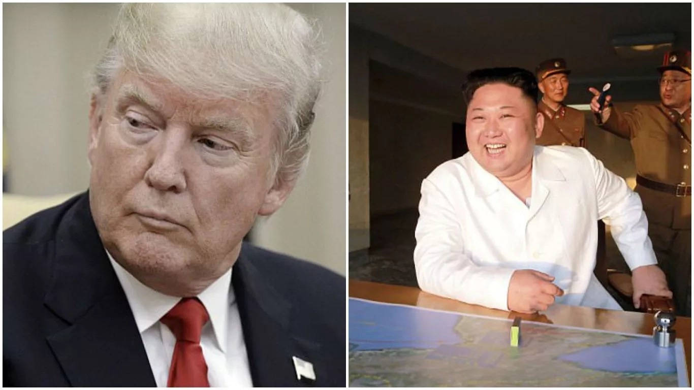 Trump (left) is determined to send a clear message to North Korean leader Kim Jong-un (right)