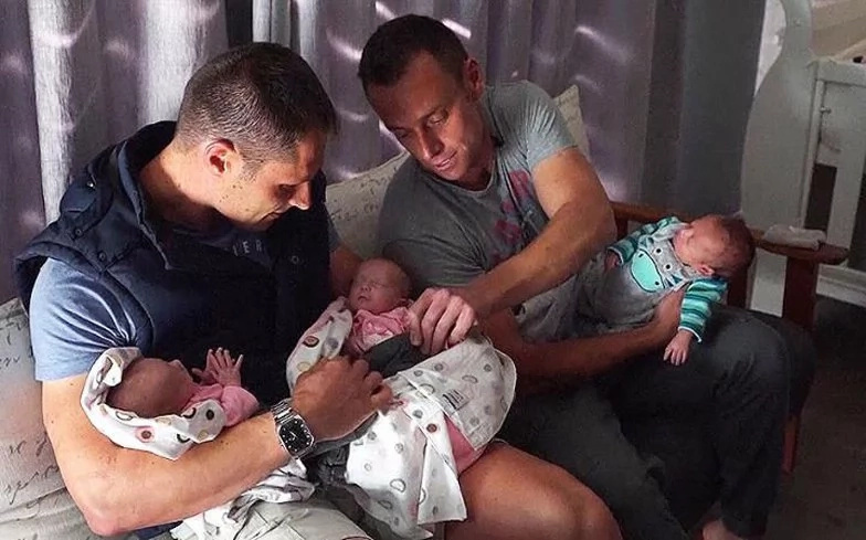 South African gay couple sire triplets