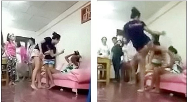 Enraged Wife Kicks Her Husband's Lover In Head 9 Times After Discovering Their Affair (Photos, Video)