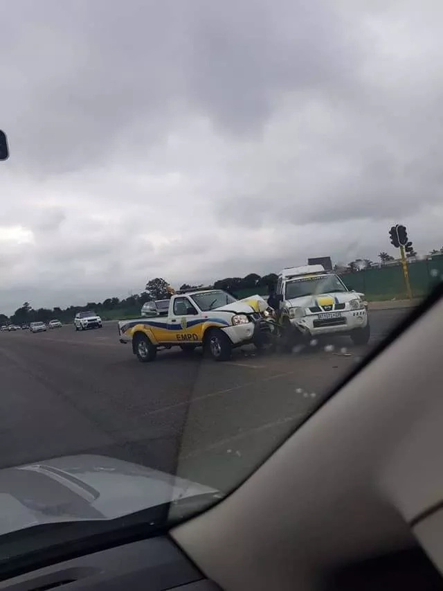 'It's Gogo's fault': 2 Metro cops blame an elderly lady for crashing into each other