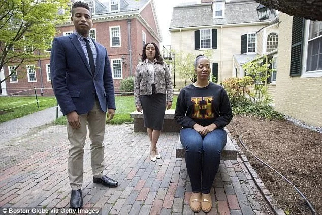 Michael Huggins (left) and other student organizers of the Black Commencement 2017 at Harvard