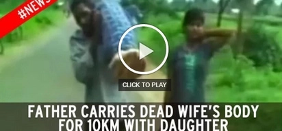 Poor man walks 10km carrying his dead wife while daughter grieves by his side