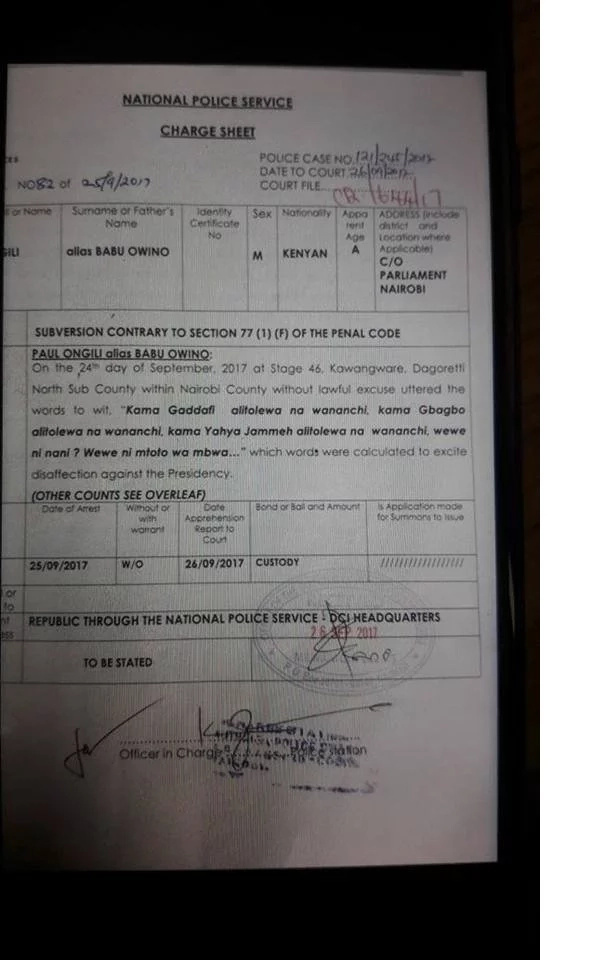 Babu Owino has not been charged for insulting Uhuru and his mum and we have the charge sheet