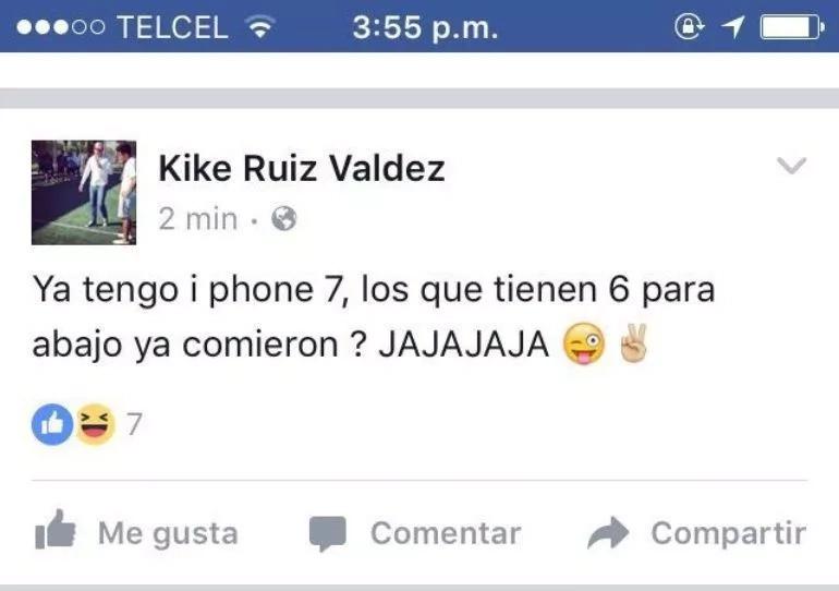 Mexicano renuncia tras burlarse de los que no tienen iPhone 7