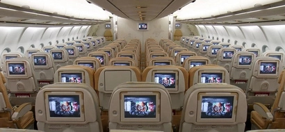 A state-of-the-art airplane where entertainment is given first priority
