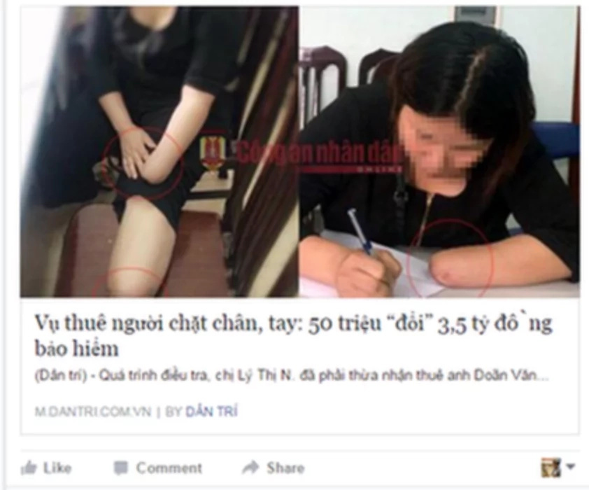 Vietnamese hires friend to cut off her hand, foot for Insurance