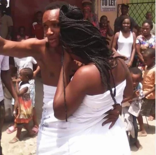 Man glued to someones wife while making love
