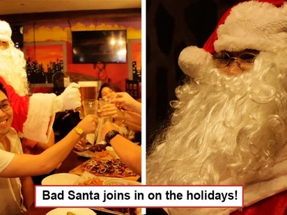 "Yayain na ang barkada! Rue Bourbon in Tomas Morato lets ""Bad Santa"" hang out with their guests!"