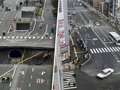 Ganito rin sana kabilis sa Pinas! Japanese fix road swallowed by terrifying giant sinkhole